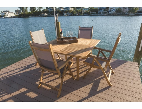 """Royal Teak Dining Set with 50"""" Square Dolphin Table and 4 Florida Chairs"""