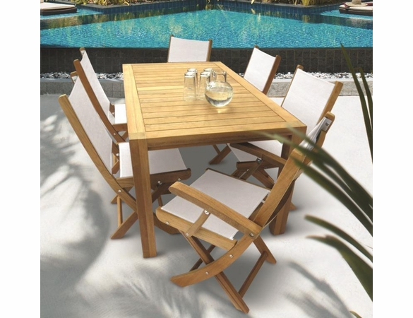 "Royal Teak Dining Set with 63"" Comfort Table and 6 Sailmate Chairs"