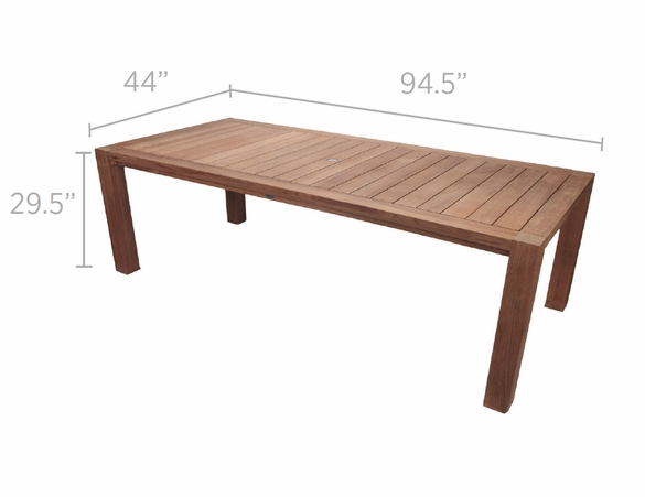 """Royal Teak Dining Set with 96"""" Comfort Table and 6 Captiva Sling Chairs"""
