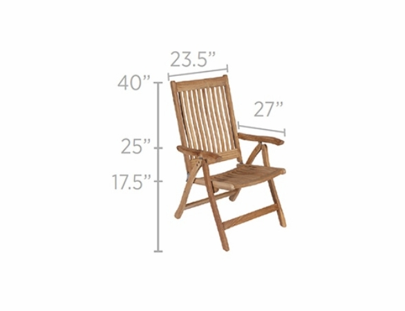 Royal Teak Estate Reclining Folding Armchair - Estimated Availability to Ship in Aug