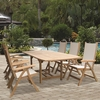 """Royal Teak Family 72"""" - 96"""" Expansion Table Set with 6 Florida Sling Chairs - Estimated Availability to Ship in July"""