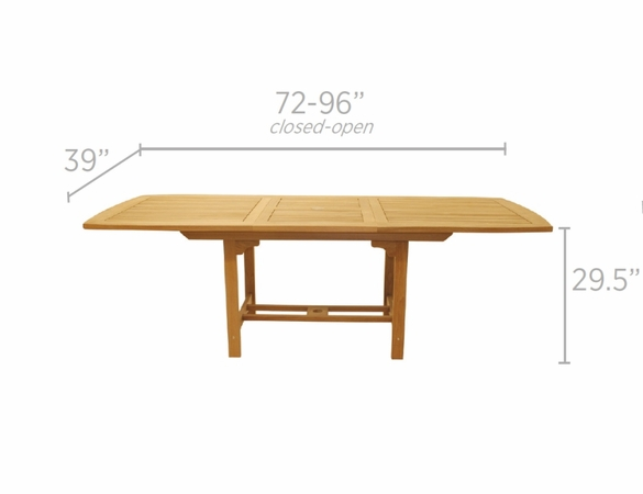 """Royal Teak Family 72"""" - 96"""" Rectanular Expansion Table with 6 Helena Wicker Chair"""