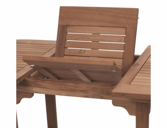 """Royal Teak Gala 64"""" - 80"""" - 96"""" Double Leaf Expansion Table Set with 6 Compass Chairs"""
