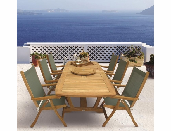 """Royal Teak Gala 64"""" - 80"""" - 96"""" Double Leaf Expansion Table Set with 6 Florida Sling Chairs"""