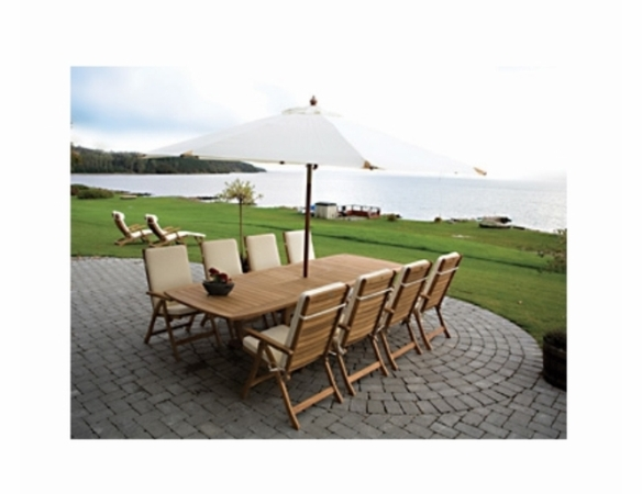 """Royal Teak Gala 84"""" - 102"""" - 120"""" Double Leaf Expansion Table Set & 8 Estate Chairs - Estimated Availability to Ship in Aug"""