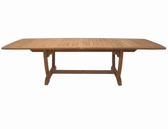 """Royal Teak Gala 84"""" - 102"""" - 120"""" Expansion Table with 8 Florida Sling Chairs"""