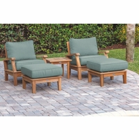 Royal Teak Miami Deep Seating Chairs and Ottoman Set with Side Table - Estimated Availability to Ship in July