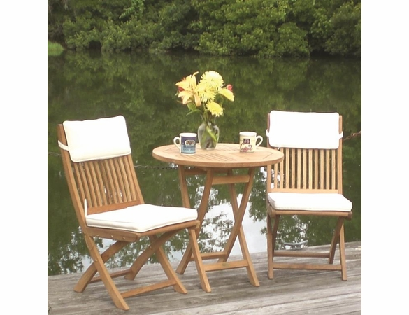 "Royal Teak Sailor 30"" Round Semi-Folding Table Teak Set"