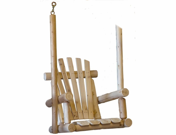 Rustic White Cedar Log Chair Porch Swing - Available to Ship Aug 16