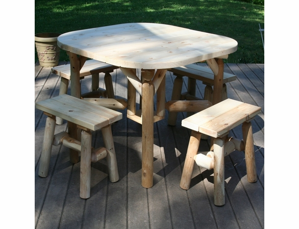Rustic White Cedar Log Dining Set w/ Benches