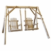 Rustic White Cedar Log Double Chair Swing Set - Available to Ship Aug 16