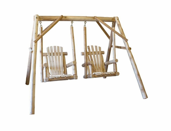 Rustic White Cedar Log Double Chair Swing Set