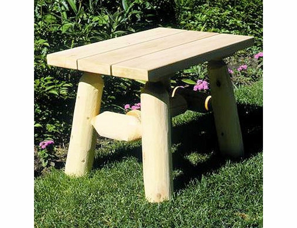 Rustic White Cedar Log End Table