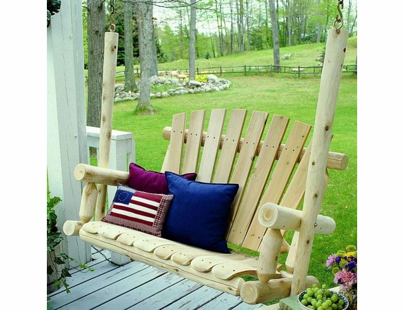 Rustic White Cedar Log Fan Back Porch Swing