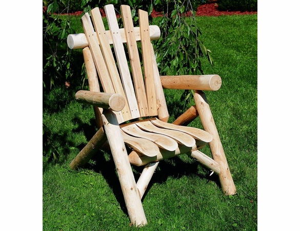 Rustic White Cedar Log Lounge Chair - Out of Stock til Beginning of Aug