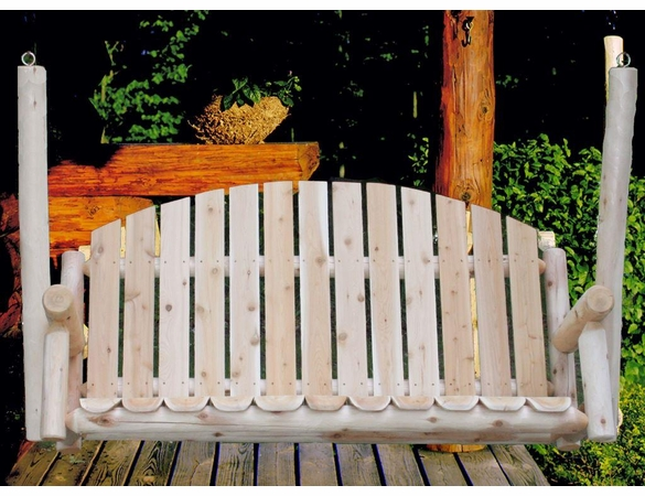 Rustic White Cedar Log Picket Porch Swing