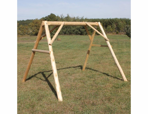 Rustic White Cedar Log Picket Swing Set