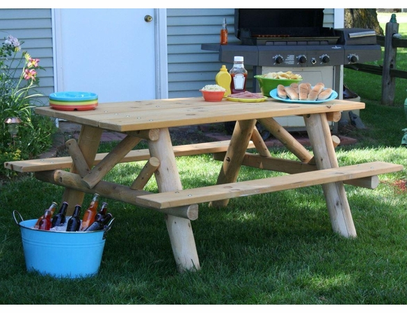 Rustic White Cedar Log Picnic Table w/ Attached Benches