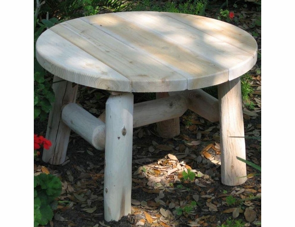 Rustic White Cedar Log Round Coffee Table