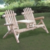 Rustic White Cedar Log Tete A Tete Bench - Out of Stock til end of July