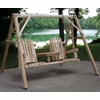 Rustic White Cedar Log Tete A Tete Swing Set - Available to Ship Aug 2