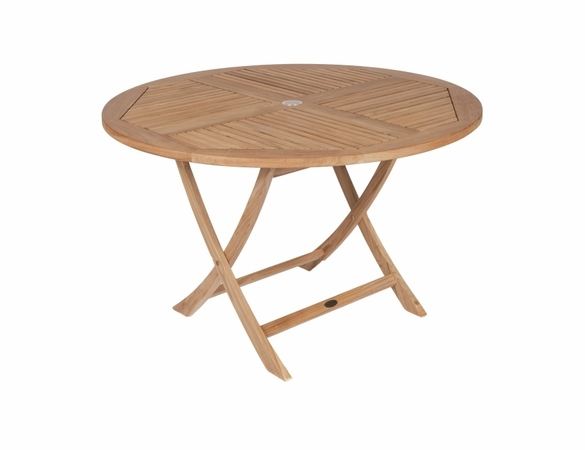 "Royal Teak Sailor 47"" Round Folding Table and 4 Sailor Armhairs"