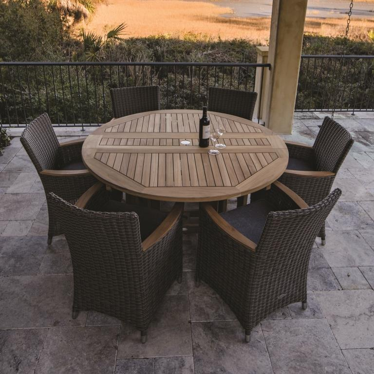 Teak 5 Round Drop Leaf Table Set With 6 Helena Chairs