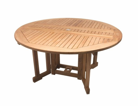 Royal Teak 5' Round Drop Leaf Table Set with 6 Helena Chairs - Unavailable 'til Mid Aug