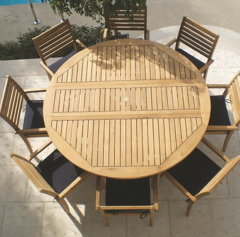 royal teak 6 round drop leaf table set with 8 avant chairs estimated availability to ship in july
