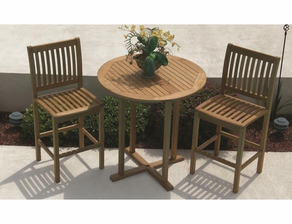 Royal Teak Bar Table Set with 2 Bar Chairs - Unavailable 'til End of July