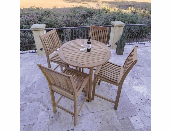 Royal Teak Bar Table Set with 4 Bar Chairs - Unavailable 'til End of July