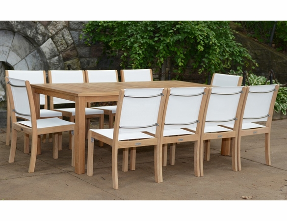 Three Birds 11-Piece Newport Rectangular Table with Riviera Sling Chairs Dining Set