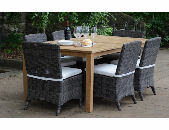 Three Birds 7-Piece Newport Rectangular Table with Bella Wicker Chairs Dining Set