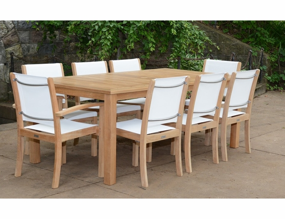 Three Birds 9-Piece Newport Rectangular Table with Riviera Sling Chairs Dining Set - Available to Ship in Sept