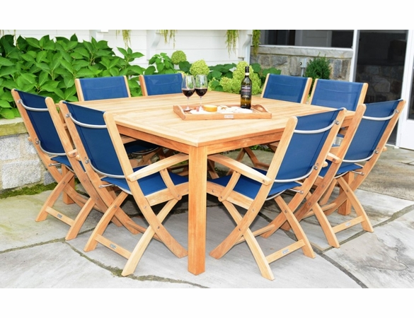 Three Birds 9-Piece Newport Square Table with Riviera Sling Arm Chairs Dining Set - Available to Ship in Sept