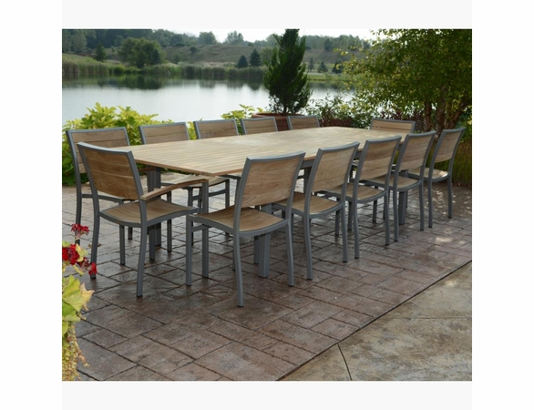 Three Birds 9 Piece Soho Teak Extension Table Dining Set - Available to ship in Aug