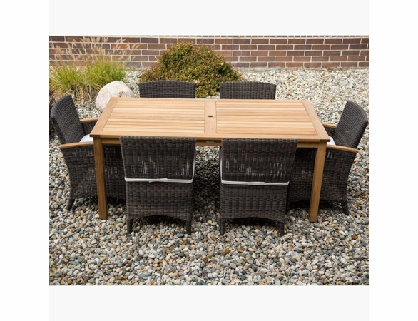 Three Birds Brunswick Teak & Bella Wicker Dining Set - Available to ship in Aug