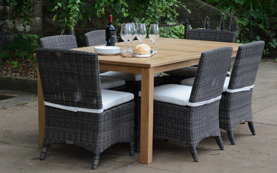 wicker chairs for kitchen table Three Birds 7 Piece Newport Rectangular Table With Bella Wicker Chairs Dining Set