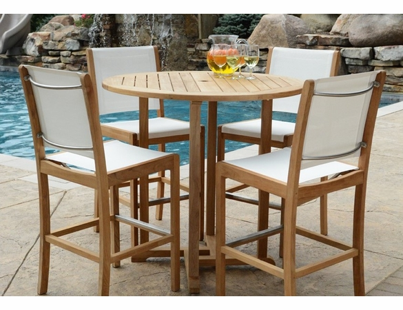 """Three Birds Oxford 42"""" Bar Table with 4 Riviera Sling Bar Chairs"""