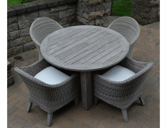 Three Birds Shelburne Teak and Viena Wicker 4 Seat Round Dining Set - Available to ship in July