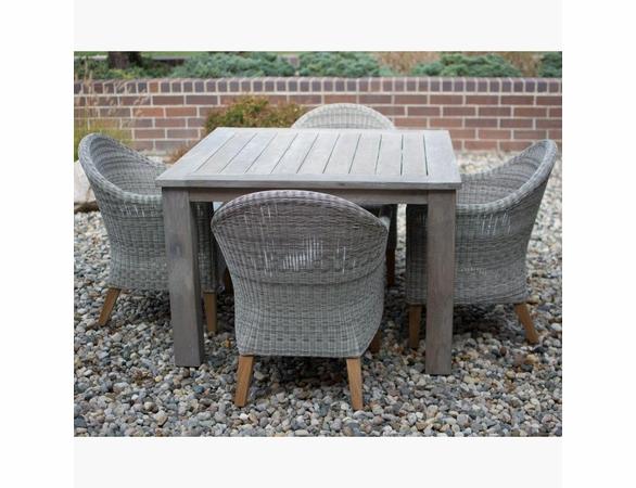 Three Birds Shelburne Teak & Viena Wicker 4 Seat Dining Set - Available to ship in July