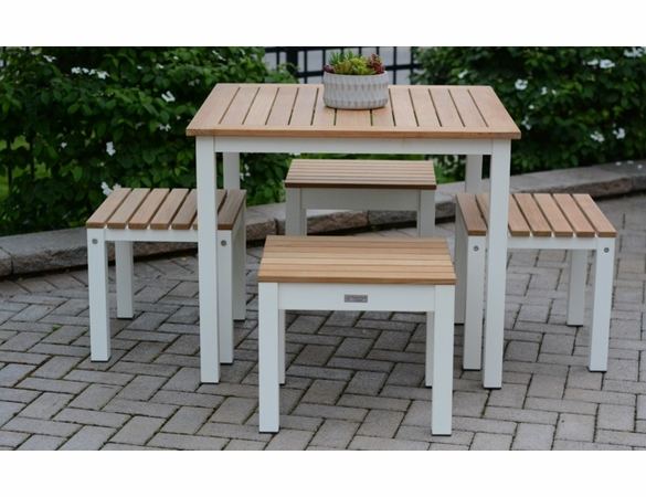 Three Birds Soho Square Table 5-Piece Bench Dining Set - Available to ship in Aug