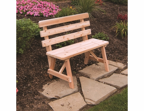 Traditional Cedar Backed Bench (2', 3', 4', 5', 6', or 8')