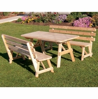 Traditional Cedar Picnic Table with Two Backed Benches (4', 5', 6', or 8')