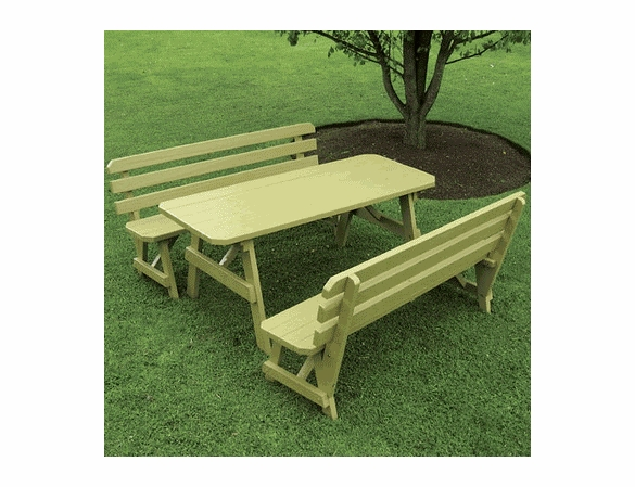 Traditional Pine Picnic Table with Two Backed Benches (4', 5', 6', or 8')
