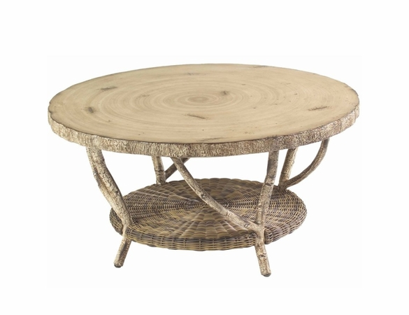 Whitecraft by Woodard River Run Wicker Coffee Table with Faux Birch Top