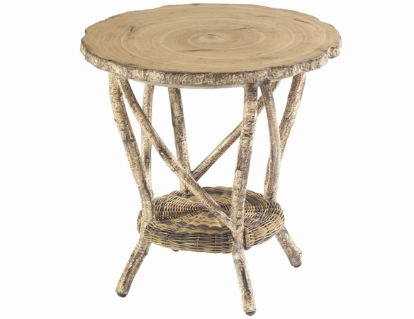 Whitecraft by Woodard River Run Wicker End Table with Faux Birch Top