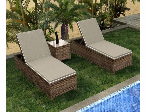 Wicker Forever Patio 3 Pc Cypress Chaise Lounge Set