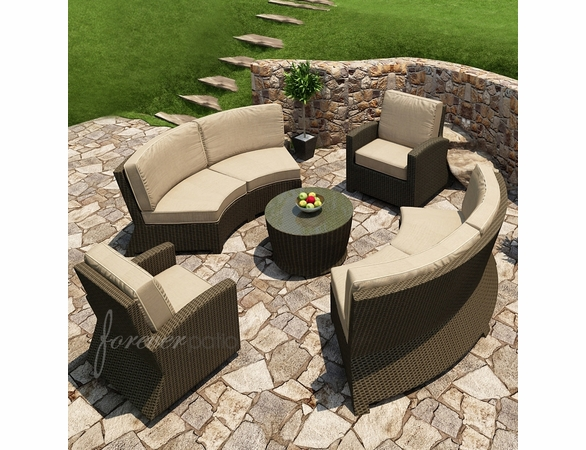 Wicker Forever Patio 5 Pc Barbados Sofa & Chat Sectional Set
