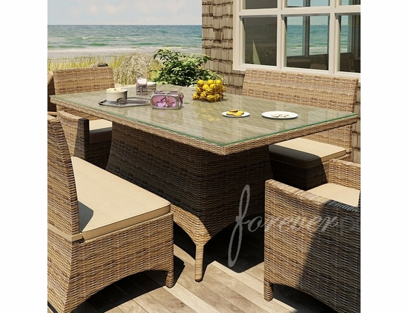 """Wicker Forever Patio Cypress 42"""" x 72"""" Rectangular Dining Table"""